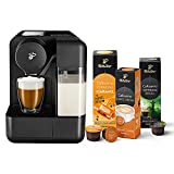 Tchibo Cafissimo milk Kapselmaschine (für Kaffee, Espresso und Caffè Crema) inkl. 30 Kapseln, Schwarz
