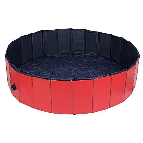 Piscina plegable para perros, portátil, plegable, de plástico duro, para mascotas, para uso en interiores y exteriores, piscina para niños y perros y gatos