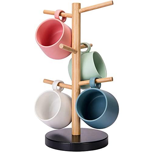 Bamboo Mug Holder Tree, Coffee Cup Holder Stand for Counter, Mug Rack with 6 Hooks