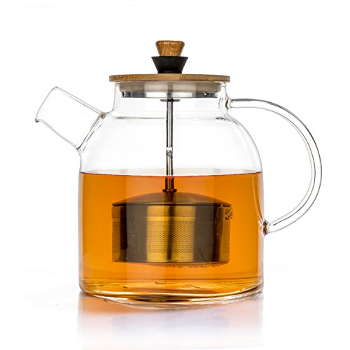 Tealyra - Glass Kettle Teapot w/Infuser - 1400ml - Stove-top Safe - Teapot Stainless Steel Infuser - Heat Resistant Borosilicate - Pitcher - Carafe - No-Dripping - Tea Juice Water - Hot Iced