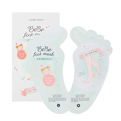 ETUDE HOUSE BeBe Foot Mask (Foot Peeling) | Make your Feet and Heels Smooth and Clean Like Baby Skin | Foot Care Sheets to Remove Dead Skin, Reduce Foot Odor, Relax your Legs & Repair Cracked Heels