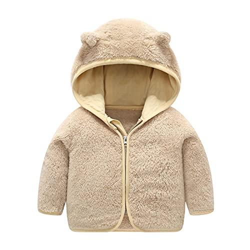 AOCRD Conjunto de ropa con capucha para bebé de forro polar, con cremallera y capucha, con orejas, para otoño e invierno de 0 a 24 meses, caqui, 80 cm