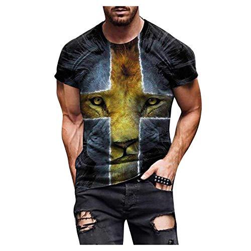 Herren T-Shirt Mode Kreuz Tier Motiv Tops 3D-bedruckter Pullover Rundhalsausschnitt Kurzarm Streetwear Slim Tunika Bluse(M,Gelb)