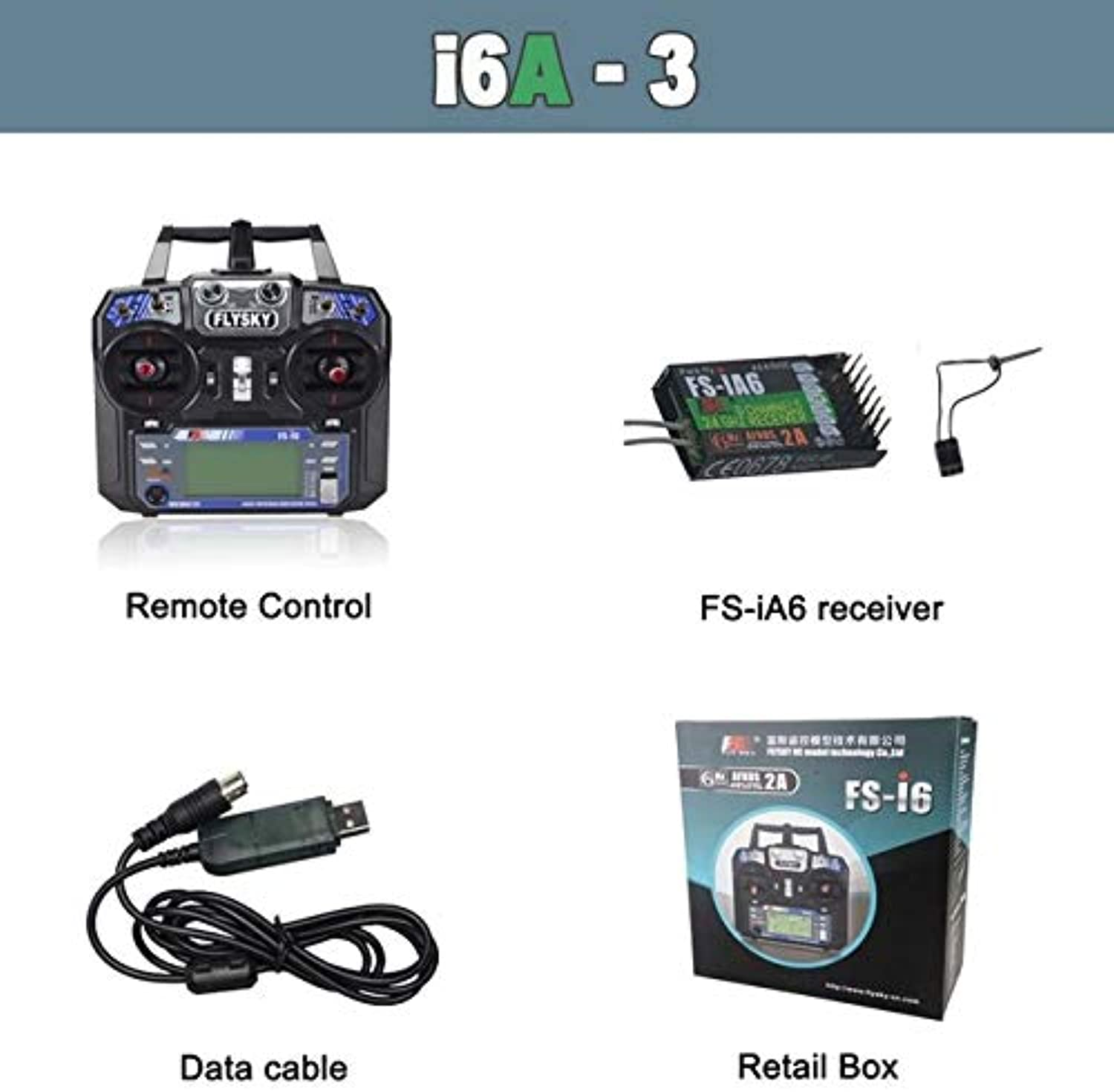 Laliva Flysky FSi6 FS I6 2.4G 6ch RC Transmitter Controller FSiA6 or FSiA6B Receiver for RC Helicopter Plane Quadcopter Glider Drone  (color  I6A Retail Data)