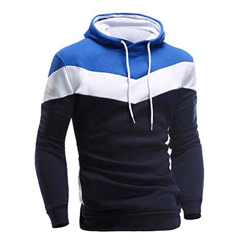 VECDY Herren Bluse,Räumungsverkauf-Herren Männer Winter Slim Hoodie Warm Pullover Sweatshirt mit Kapuze Mantel Outwear Lässiger Kapuzenpullover (48, O-Marine)