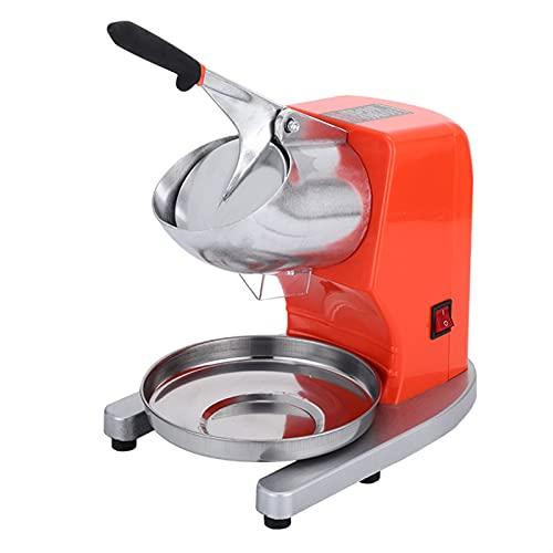 Máquina para triturar hielo ara uso doméstico Picadora de hielo eléctrica, acero inoxidable Cono de Nieve fabricante de jugo Cócteles, conveniente para el hogar y el uso comercial (Color : Orange)