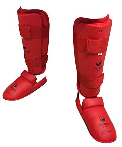 Tokaido Schienbein-Spannschutz WKF rot blau Karate Schienbeinschützer Fußschützer für Wettkampf & Training (rot, XS)