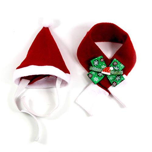 Yinuneronsty 2 Stück Haustier verstellbar Weihnachten Nikolaus Hut Schal Set Weihnachten Cosplay Halskette Schleife