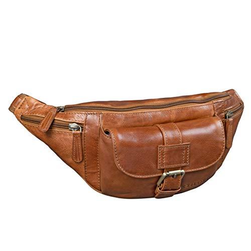 STILORD 'Sam' vintage fanny pack lederen riemtas grote heren heupen tas met riemen voor reizende festival vrije tijd echt leer, Kleur:cognac - glimmend