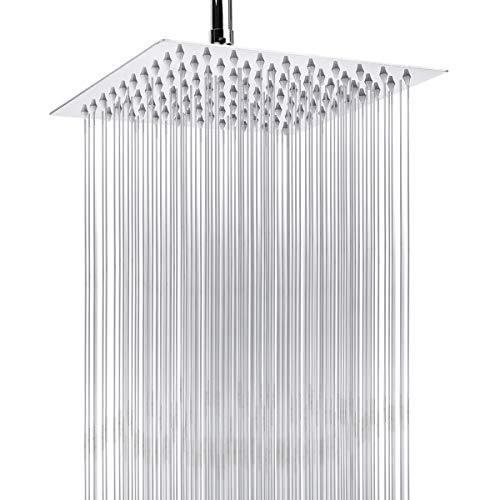 High Pressure Rain Shower Head, Harjue 8-Inch Ultra-Thin Showerhead 304 Stainless Steel Waterfall Shower, Chrome Finished with Self-Clean Nozzles