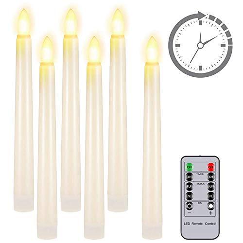 LED Kerzen mit Fernbedienung, PChero 6pcs 7,8 Zoll Batteriebetriebene LED Floating Taper Candle Beleuchtung Teelichter mit timer für Halloween Weihnachten Home Room Garten Harry Potter Deko