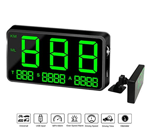 COOLOUS C80 Universal Hud Heads Up Display 4.5inch Large Screen Digital Speedometer Altitude Speed Projector Film Over Speed Warning for Cars & Other Vehicles