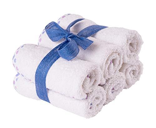 Asciugamani Bambini in Cotone Naturale - Lavette Neonato in Spugna - Super Assorbenti - Ultra Spessore (500 Gsm) - Oeko-Tex 30x30 cm - 6 Pezzi Bianco