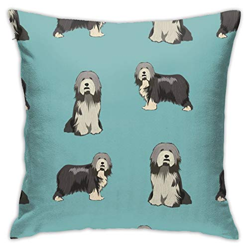 87569dwdsdwd Bearded Collie Dog Collie Dog Bearded Collie Dogs Dog Blue Square Pillow Case Home Sofa Decorative 18' X 18'Inch Ultra Soft Comfortable