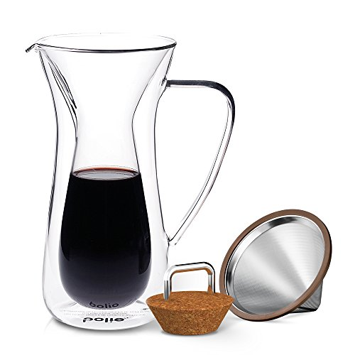 Double Wall Pour Over Coffee Maker With Stainless Steel Double Wall Cone Filter, Insulated Coffee Glass Carafe with Cork Lid By Bolio