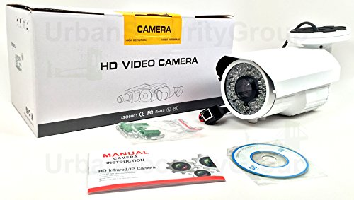 Urban Security Group IP Bullet Security Camera: 5MP, PoE, 5-50mm Long Range 10x Zoom Varifocal Lens, 72x IR LEDs for 200 Feet Nightvision Protection, IR-Cut, IP66 NEMA 4X Outdoor Rated, ONVIF