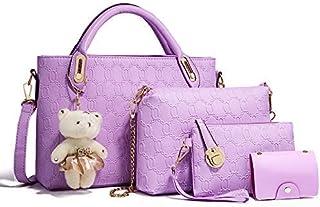4pcs/Set Women Fashion Handbag Chain Lady Crossbody Bag Shoulder Bag (Purple)