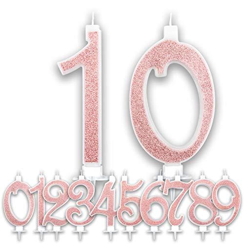 Candeline Grandi Compleanno Rosa Gold Glitter | Numeri brillanti per Torta Festa Birthday Ragazza | Decorazioni Candele Topper Auguri Anniversario Torta | Altezza 13 CM (10 Anni)