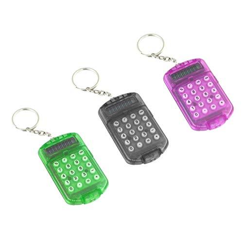 NUOBESTY 3 Stücke Taschenrechner Schlüsselanhänger Winzige Kleine Tragbare Mini Elektronische Rechner für Kinder zu Hause Studenten Schule (Zufällige Farbe)