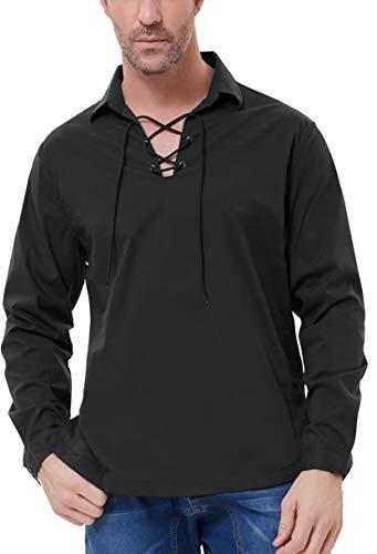 PJ PAUL JONES Mens Lapel Collar Long Sleeve Scottish Jacobite Ghillie Shirt S Black