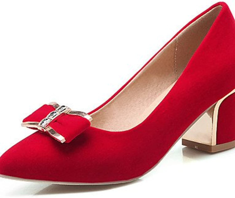BGYHU GGX Damen Schuhe Samt Frühling Sommer Winter Winter Heels Basic Pumpe spitz Toe Heels Büro  Casual Chunky Heel  Ihre Zufriedenheit ist unser Ziel