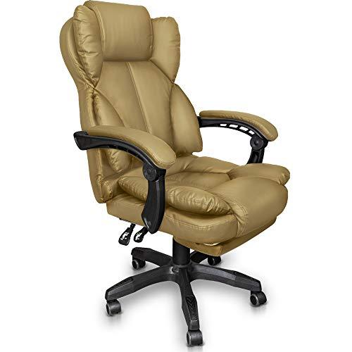 Trisens Schreibtischstuhl Bürostuhl Gamingstuhl Racing Chair Chefsessel mit Fußstütze, Farbe:Beige
