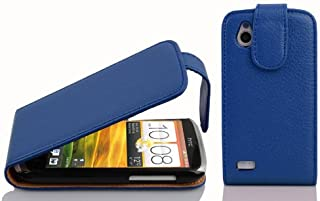 Cadorabo Case works with HTC Desire X in NAVY BLUE - Flip Style Case made of Structured Faux Leather - Wallet Etui Cover P...