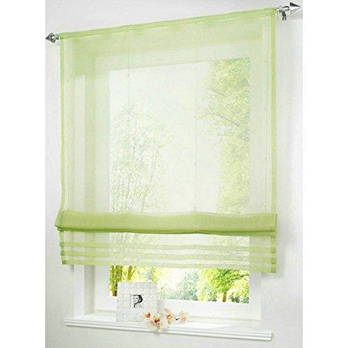 KOU-DECO Raffrollo Tunnelzug Gardinen Voile Transparent Polyester 1er-Pack Vorhang (B*H 120*155cm, grün)