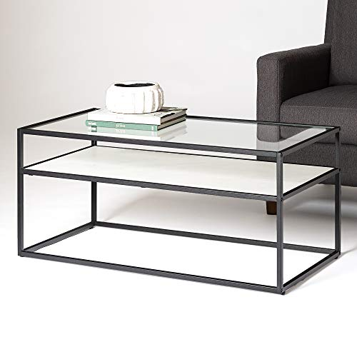 WE Furniture Modern Reversible Shelf Rectangle Coffee Accent Table Living Room, 40 Inch, White Marble, Grey Concrete