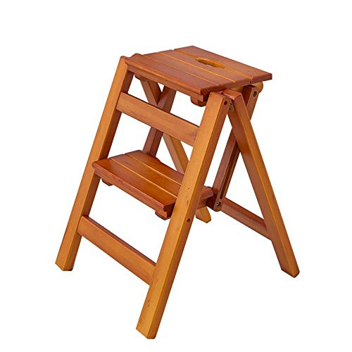 Stair stoel Ladder Kruk Houten Folding trapladder opstapje for volwassenen & Kids Kitchen Ladders Small Foot Krukken Portable Shoe Bench/Flower Rack stair kruk (Color : Brown, Size : 2 steps)