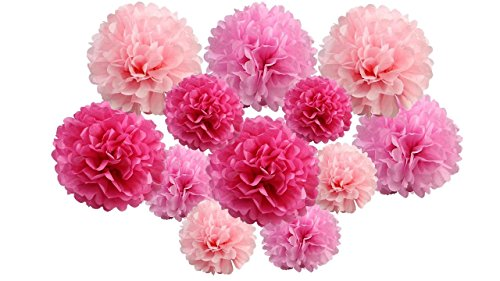 pack of 12 Pack Mixed Tissue Paper Pompom Pom Pom Hanging Garland Wedding Party Decorations (Pink Shade, mix 8' & 10' (20 cm & 25 cm))