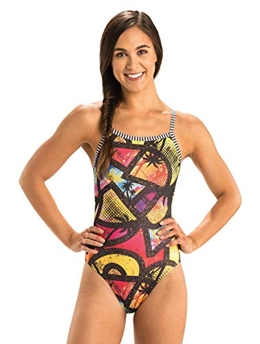 Dolfin Women's Uglies V-2 Back One Piece Swimsuit (Beauty and The Beach, 30)