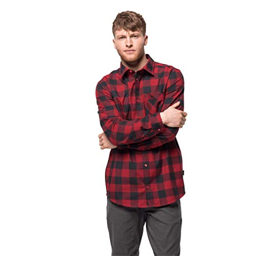 Jack Wolfskin Red River Shirt Homme Red Lacquer Checks FR: XL (Taille Fabricant: XL)