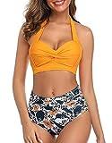 Tuopuda Costume da Bagno Donna Vita Alta Retro Bikini Donna Push Up Mare Costumi da Mare Due Pezzi Swimwear