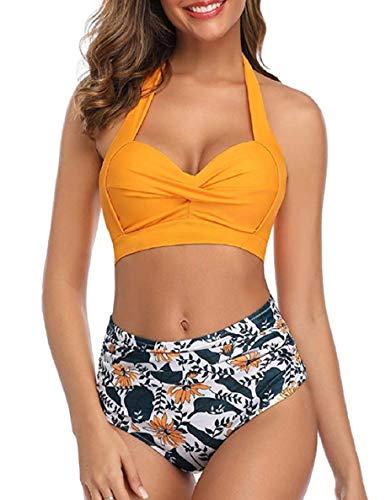 costume mare donna 2 pezzi push up vita alta Tuopuda Costume da Bagno Donna Vita Alta Retro Bikini Donna Push Up Mare Costumi da Mare Due Pezzi Swimwear(Giallo