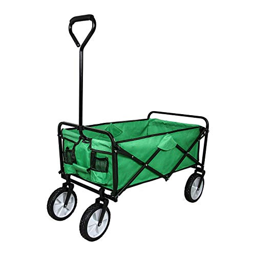 Garden Trolley Foldable Wagon Heavy Duty Folding Cart Wheelbarrow Collapsible...