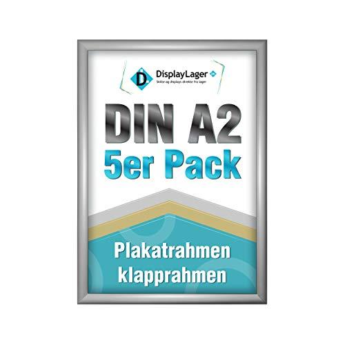 DisplayLager - 5 Klapprahmen DIN A2 | Plakatrahmen mit 25mm Silber alu Profil | inkl. entspiegelter Schutzscheibe und Befestigungsmaterial | Wechselrahmen/Posterrahmen/bilderrahmen mit klicksystem