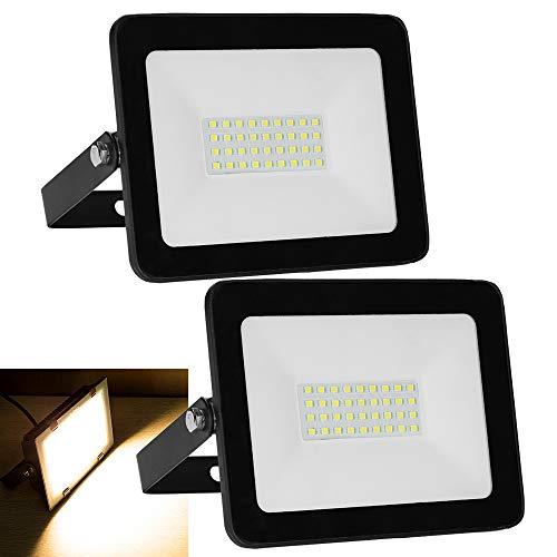 Hengda LED Strahler 2er 30W LED Scheiwerfer IP65 Wasserdicht LED Fluter 2400LM Superhell Außenstrahler Flutlicht für Terrasse Garten Hof Sportplatz