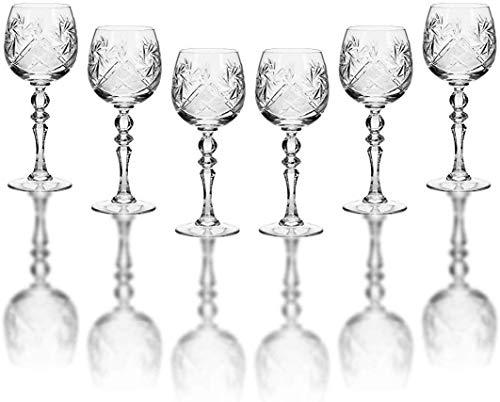 Neman Glassworks - Juego de 6 copas de vino (250 ml, cristal ruso, hecho a mano)