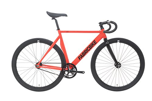 FabricBike Air- Bicicleta Fixie, piñon Fijo, Fixed Gear, Single Speed, Cuadro Aluminio, 8.5 kg Aprox (Air 3K Red, S-49)