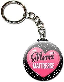 Merci Maîtresse Porte Clés Chaînette 3,8 centimètres Idée Cadeau Accessoire Fin d'année Scolaire École Noël Remerciement