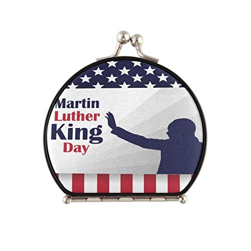 Espejo de maquillaje de viaje para mujer – Martin Luther King Day America Flag Espejo compacto de doble cara 2x y 1x espejo de bolsillo de aumento para mujer y niños