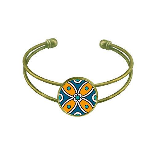 DIYthinker Abstrakte Blume Marokko Stil Muster Armband Armreif Retro Offene Manschette Schmuck