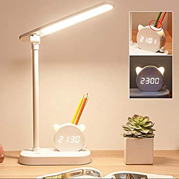 Mubarek 5400mAh LED Desk Lamps for Home Office College Dorm Room with Pen Holder Night Lights Clock 3 Modes 10 Brightness Eye-caring Desktop Study Desk Lamps,Touch Control Desk Light for Home Office