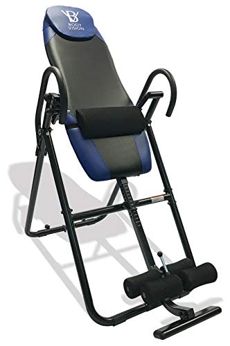 Body Vision IT9825 Premium Inversion Table with Adjustable Head Pillow & Lumbar Support Pad, Blue - Heavy Duty up to 250 lbs
