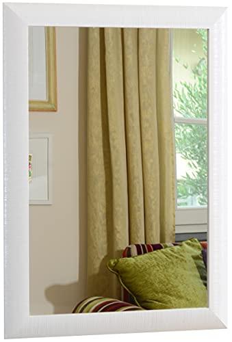 GaviaStore - Elise 70x50 cm - Espejo de Pared Moderno Muebles para el hogar Arte decoración Sala de Estar Sala Moderna Dormitorio baño Cocina Entrada Wall (Blanco)
