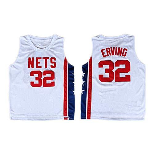 Dr.J Jersey wei/ß Sportbekleidung LITBIT Basketball Jersey Julius Erving 32# New York Nets Unisex /Ärmel T-Shirt f/ür Mann,S