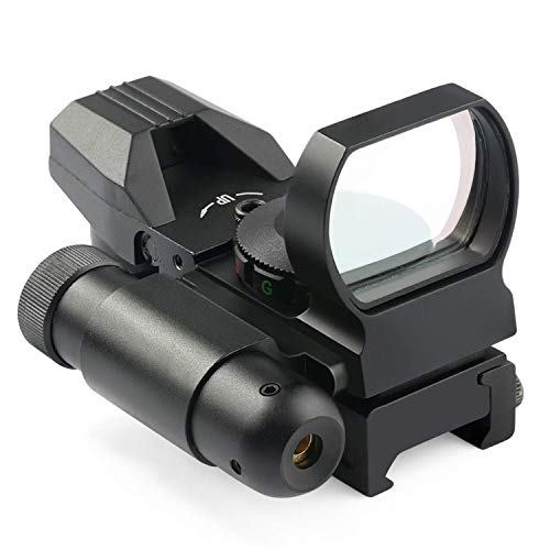 MAYMOC Mira Reflectante -4 retícula óptica de Punto Rojo y Verde con Punto de mira láser Rojo Integrado de 20 mm