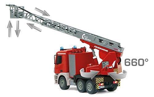 RC Auto kaufen Feuerwehr Bild 5: Jamara 404960 - Feuerwehr Drehleiter 1:20 Mercedes Antos 2,4G – deutsche Sirene mit blauen LED Signallichtern, 420 ml Wasserbehälter, reale Spritzfunktion, programmierbare Funktionen, 4 Radantrieb*