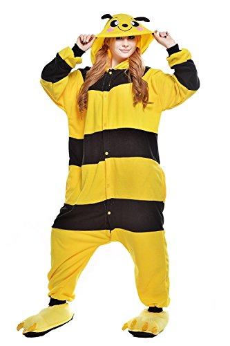 ABYED® Kostüm Jumpsuit Onesie Tier Fasching Karneval Halloween kostüm Erwachsene Unisex Cosplay Schlafanzug- Größe L-für Höhe 164-174CM, Gelb Biene